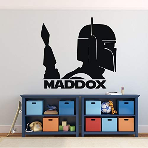 Customized Name Boba Fett Helmet Wall Decor | Star Wars Personalized Vinyl Decal For Boy's Bedroom, Gameroom, or Playroom