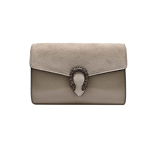 Suede Mini Bag - RONDA CLUTCH Italian Baugette clutch mini wallet cross body bag with nickel chain smooth stiff leather and suede (Clutch light taupe)