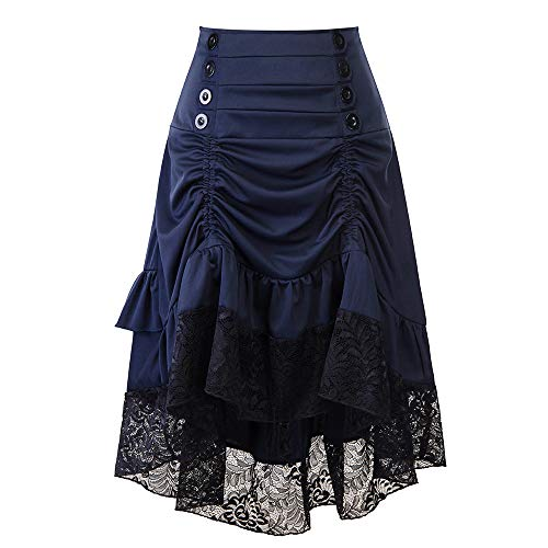 (Sharemen Women Sleeveless Polka Dot Lace Hepburn Vintage Swing High-Waist Pleated Dress(Blue,S))
