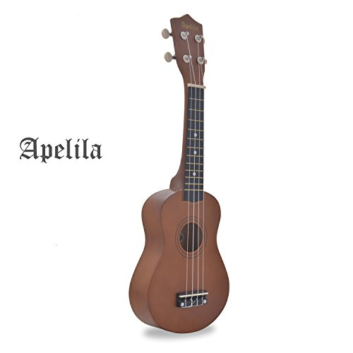 Apelila 21 inch Soprano Ukulele Acoustic Mini Guitar Musical Instrument with Bag, Pick, Strings, for Beginner, Kid, Starter, Amateur (Mocha)