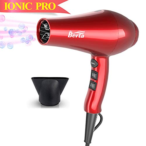 Professional Ionic Hair Dryer, Berta Lightweight Powerful 1875 Watt Ceramic Salon Blow Dryer Negative Ions Cool Shot Button Hairdryer 2 Speed 3 Heat Settings with Concentrator Nozzle Cola Red