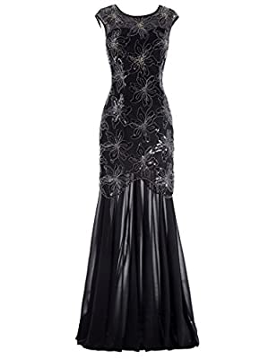 Kate Kasin Sequined V-Back Long Prom Party Dress Cap Sleeve