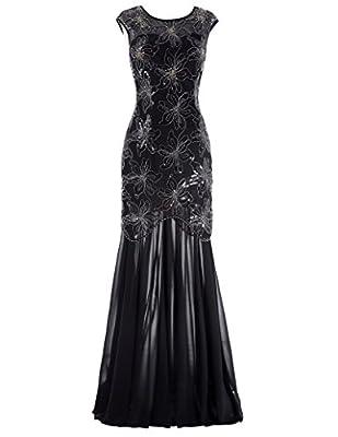 Kate Kasin Sequined V-Back Long Prom Party Dress Cap Sleeve