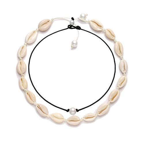 HEIDKRUEGER Natural Shell Choker Necklace Handmade Adjustable Cowrie Collar Boho Hawaii Summer Beach Necklace for Women Girls (White Necklace+Pearl Choker) -