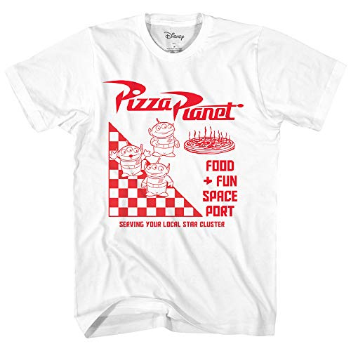 Disney Pixar Toy Story Pizza Planet Take Out Logo Disneyland World Tee Funny Humor Men's Graphic T-Shirt (White, XXX-Large)