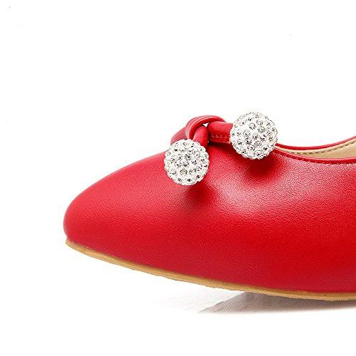 Couleur Pointu Rouge Légeres Talon Matière Chaussures Correct Tire Mélangee À Femme Unie Agoolar q8CHxfw