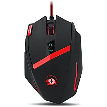 Redragon M801 Mammoth 16400 DPI Programmable Laser Gaming Mouse for PC, 9 Programmable Buttons, 5 User Profiles, Weight Tuning, Omron Switches, Black
