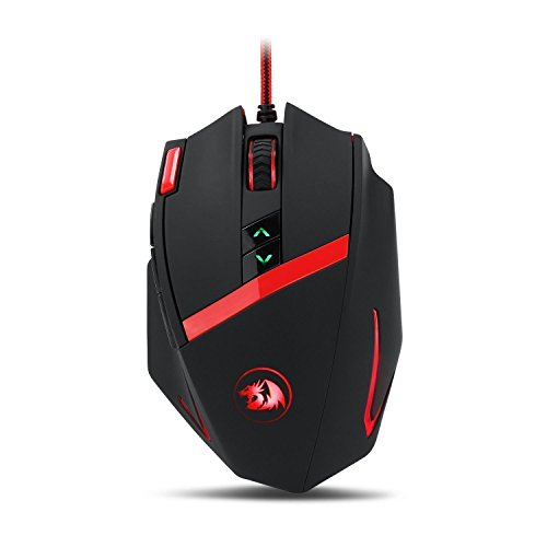 Redragon M801 Mammoth 16400 DPI Programmable Laser Gaming Mouse for PC, 9 Programmable Buttons, 5 User Profiles, Weight Tuning, Omron Switches, Black (Mouse Laser Red Razer)