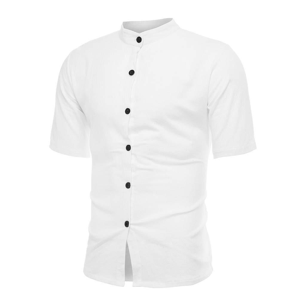 Mens Vintage Pure Color Linen Solid Short Sleeve Retro T Shirts Tops Blouse