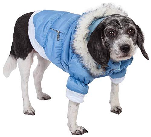 PET LIFE Classic Metallic Fashion Pet Dog Coat Jacket Parka w/ 3M Insulation and Removable Hood, Medium, Sky Blue