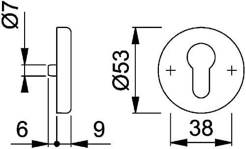 8064818 HOPPE Schl/üsselrosette Aluminium Natur 42KVS