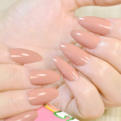 Baby Blue False Nails Jelly Blue Oval Sharp End Fake Nails Pointed Head Full Artificial Nails For Lady Daily nude