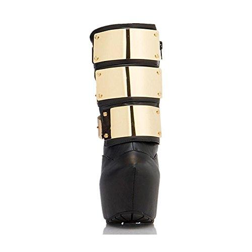 Stiletto Automne Bottes BLACK Imperméable Femmes Hiver Cheville EUR35UK3 NVXIE en Métal Bouton Élevé Chaussures Cuir Printemps Talon Camouflage Court HZIRxqxw