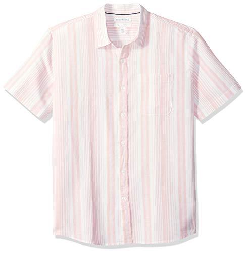 Amazon Essentials Men's Regular-Fit Short-Sleeve Stripe Linen Shirt, Pink, Small
