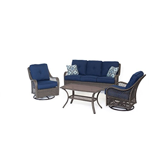 Hanover ORLEANS4PCSW-G-NVY Orleans 4 Piece All-Weather Patio Set, Navy Blue Outdoor Furniture (Weave Resin Furniture Garden Sets)