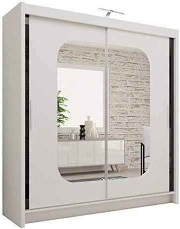 Armadio moderno con porta scorrevole a specchio per camera da letto con luce bianco-108