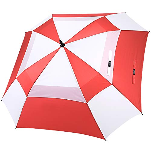 G4Free Extra Large Golf Umbrella Double Canopy Vented Square Umbrella Windproof Automatic Open 62 Inch Oversize Stick Umbrella for Men Women (Red/White)