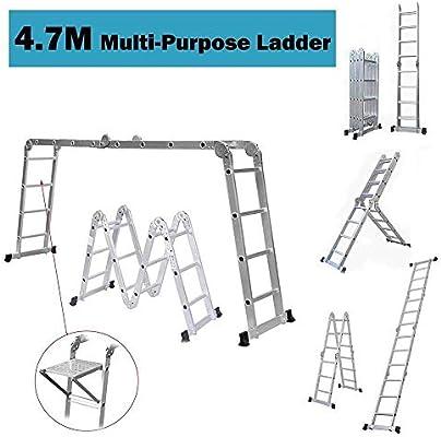 Plegable multifuncional escalera telescópica estabilizador doble escalera de tijera plegable escalera plegable escalera multiuso de aluminio escalera de aluminio escalera telescópica escalera de alumi: Amazon.es: Hogar