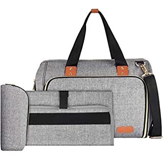 VBIGER Diaper Bag Baby Diaper Bag Large Travel Diaper Bag Tote Diaper Multifunction for Mom and Dad Convertible Baby Bag for Boys and Girls with Changing Pad, Insulated Pockets (Gray)