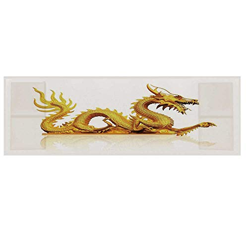 - Ancient China Decorations Cotton & Linen Microwave Oven Protective Cover,Statue of Legendary Dragon Fantasy Figure Cultural Art Decorative Cover for Kitchen,36