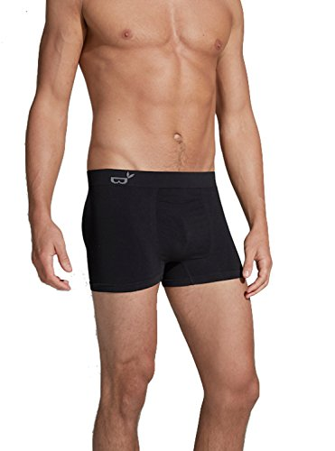 Boody Body EcoWear Men s Boxer Brief Seamless Underwear Made From Natural Organic  Bamboo Viscose – Soft Breathable Eco Fashion For Sensitive Skin - Black 6dc1227a80