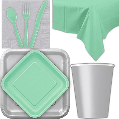 Disposable Party Supplies for 28 Guests - Silver and Mint - Square Dinner Plates, Square Dessert Plates, Cups, Lunch Napkins, Cutlery, and Tablecloths: Premium Quality Tableware Set