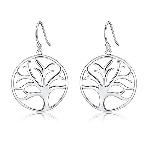 (Sterling Silver Filigree Minimalist Tree of Life Dangle Drop Earrings For Sensitive Earrings By Renaissance Jewelry)