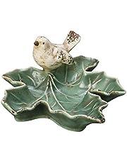 """Creative Co-op Dish w Bird, Green 5-1/2""""L x 4-3/4""""H Ceramic Leaf"""