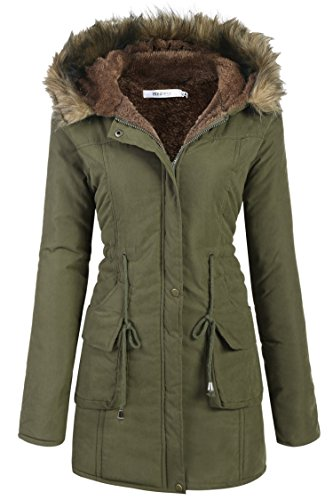Beyove Womens Military Hooded Warm Winter Faux Fur Lined Parkas Anroaks Long Coats (Fur Hooded Parka)