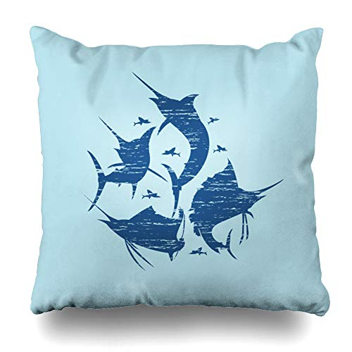 Blue Marlin Pillow - Ahawoso Throw Pillow Cover Blue Abstract Marlin Fish California Graphic Creative Emblem Fishing Garment Design Home Decor Pillow Case Square Size 20 x 20 Inches Zippered Pillowcase