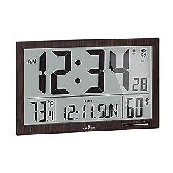 Marathon Slim Atomic Wall Clock with Jumbo Display, Calendar, Indoor Temperature & Humidity - Batteries Included - CL030062WD (Walnut Finish)