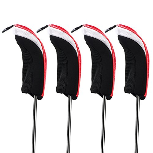 Hipiwe Golf Hybrid Club Head Covers Set 4pcs Club Irons Headcovers with Interchangeable No. Tag (Red) (Iron Hybrid Headcovers)