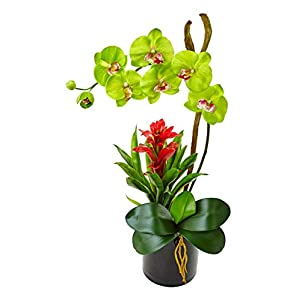 Artificial Flowers -Green Orchid and Bromeliad in Glossy Black Cylinder Arrangement 91