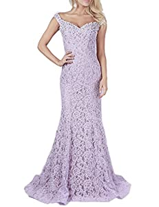 YSMei Womens Off Shoulder Long Lace Evening Prom Dress Mermaid Beads 2018 YPM418