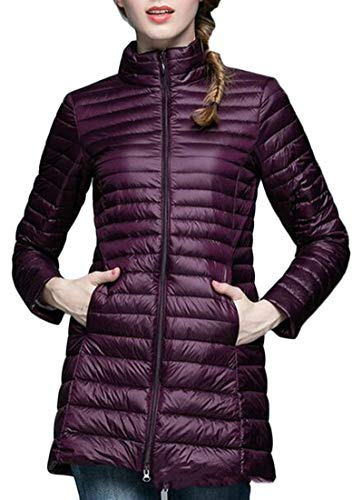 Jacket Packable Lightweight Womens Wine Red Puffer Quilted Jacket EKU Coat AgE6WxqA