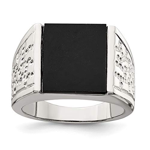 - 925 Sterling Silver Black Onyx Mens Band Ring Size 10.00 Man Fine Jewelry Gift For Dad Mens For Him