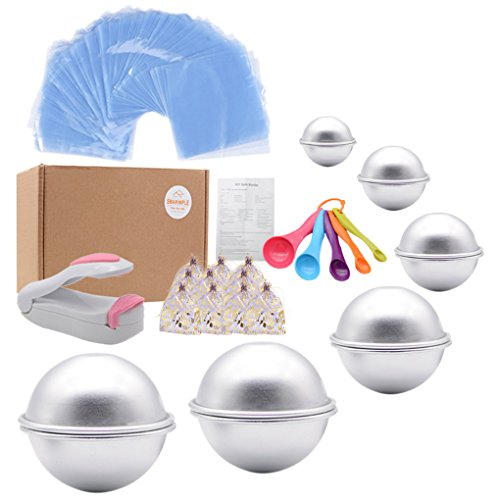 Bath Bomb Mold Set 228 Pieces - 200 Packs Shrink Wrap Bags,12 Pieces of DIY Metal Mould,Spoons,Gift Bags,Mini Heat Sealer (Instruction Included)