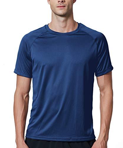 EXIO Mens Short Sleeve T-Shirt Athletic Cool & Dry Running Top EX-TR03 (Navy, Medium) Athlete Short Sleeve Top
