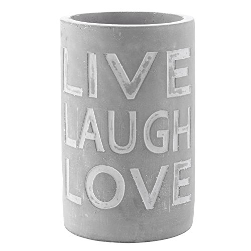 Etched Floral Vase - Modern 8-Inch Gray Unglazed Clay Planter Vase with LIVE LAUGH LOVE Inscription