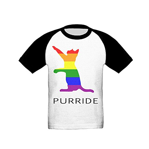 Price comparison product image Gay Pride Cat Unisex Kids Short Sleeve Performance Raglan 5-6 Toddler