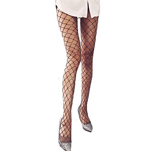 Clearance Sale!Women Stockings JMETRIE Rhinestone Fishnet Elastic Stockings Big Fish Net Tights Pantyhose (Red)