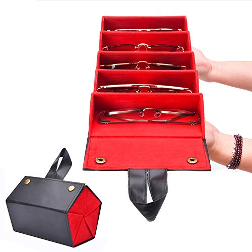 Multiple Leather Sunglasses  Travel Organizer Case Foldable Eyeglasses Storage Box Portable Eyewear Display Containers