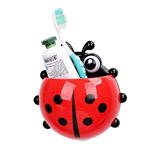 1 pcs Ladybug toothbrush holder Toiletries Toothpaste Holder Bathroom Sets Suction Hooks Tooth Brush container ladybird on (Eye Makeup Ladybug Costume)