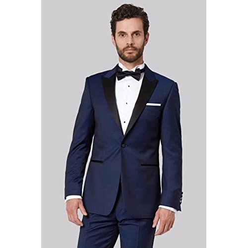 f413ceb3b55a50 durable modeling Moss 1851 Men's Tailored Fit Bright Blue Tuxedo 2 Piece  Suit