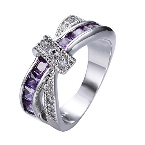 Rongxing Jewelry Purple Amethyst Diamond Womens Zircon Cross White Gold  Filled Wedding Rings Szie 8