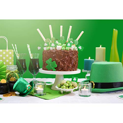 (Laeacco 8x6.5ft St.Patrick's Day Dessert Table Scene Backdrop Vinyl Chocolate Cake Green Candies Beer Hat Candles Green Wall Background Irish Traditional Festival Greeting Card Luck Hope)