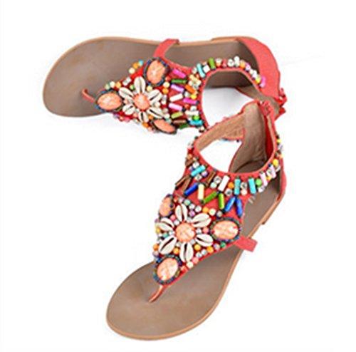 Crc Dames Romeinse Stijl Gerolde Achterkant Met Rits Casual Comfortabele Synthetische Flip-flop Sandalen Rood