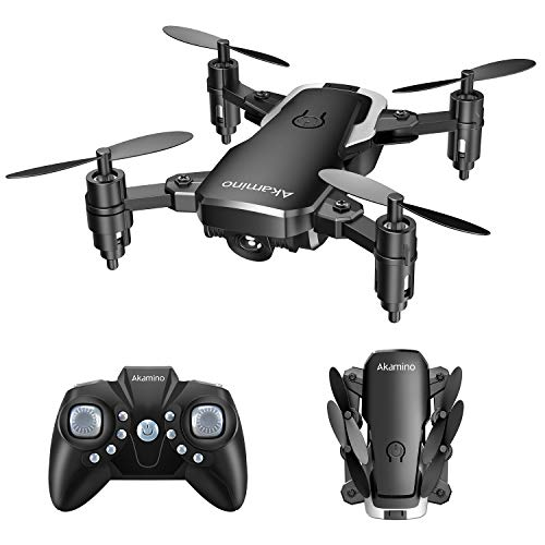 Cheap Mini Drone,Akamino Foldable Portable Drones 2.4G Pocket RC Helicopter Equipped with Headless Mode 3D Flip and Altitude Hold Function Easy for Beginners, Kids