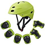 [KuYou] Kids Sports Knees Elbows Wrists Head Support Protection Helmet Set for Unisex Toddler Children Extreme Sports Youth Roller Bicycle BMX Bike Skateboard -7Pcs(Green)