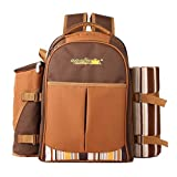 "apollo walker Picnic Backpack Bag for 4 Person with Cooler Compartment, Detachable Bottle/Wine Holder, Fleece Blanket(45""x53""), Coffee Mugs,Plates and Cutlery"